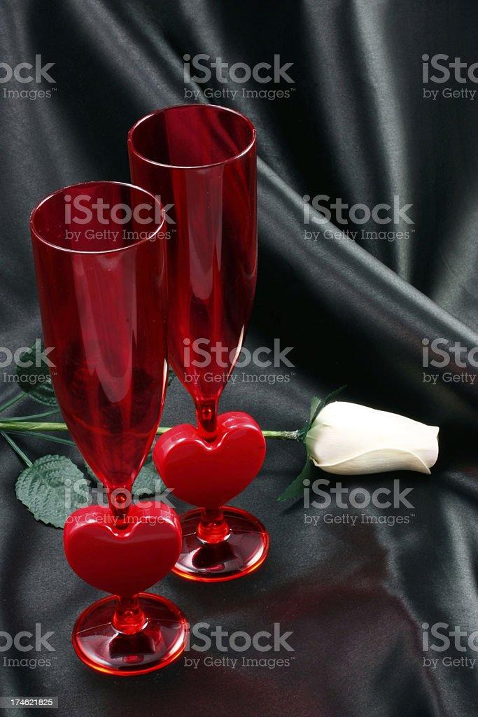 Romantic Champagne Flutes stock photo