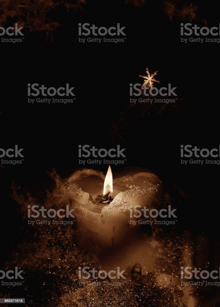 Romantic Christmas candle stock photo