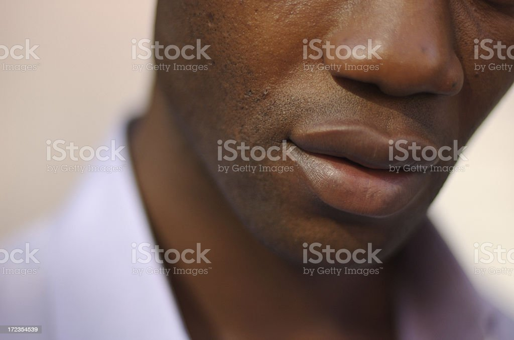 Romantic Close Up Portrait of Lips Black Man royalty-free stock photo