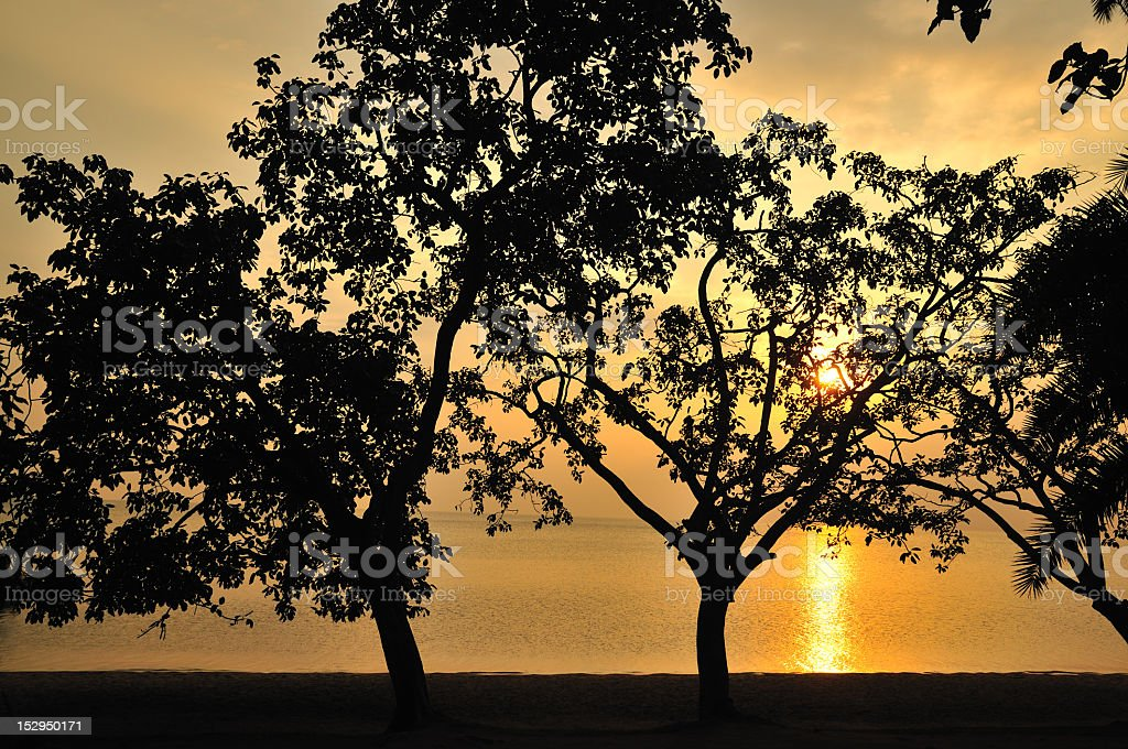 Romantic Colourful Sunset on Lake Kivu, Gisenyi, Rubavu, Rwanda stock photo