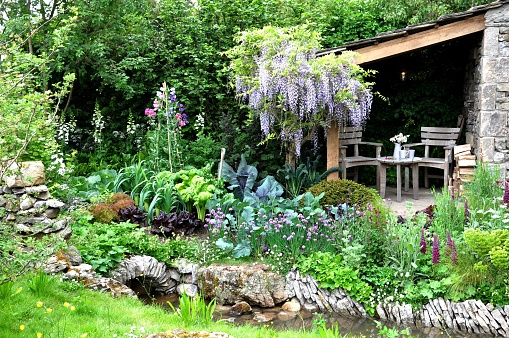 Romantic cottage garden