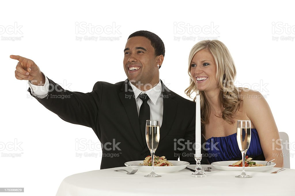 Romantic couple at dinner royalty-free stock photo