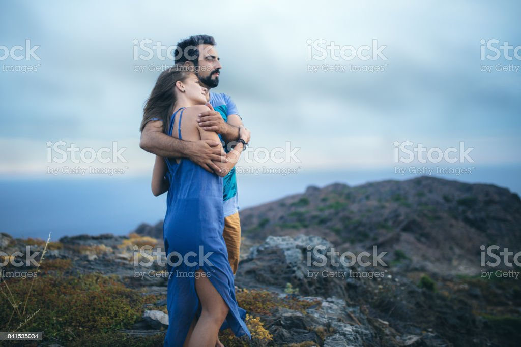 Romantic couple at dramatic ambience stock photo