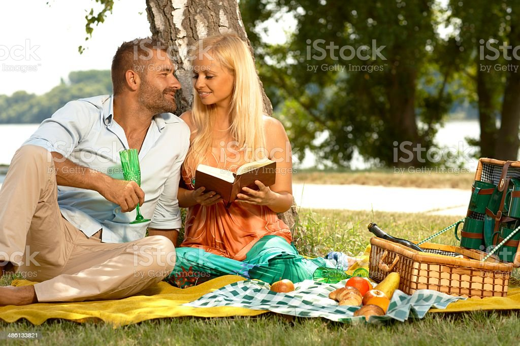 Romantic couple at marriage anniversary picnic royalty-free stock photo