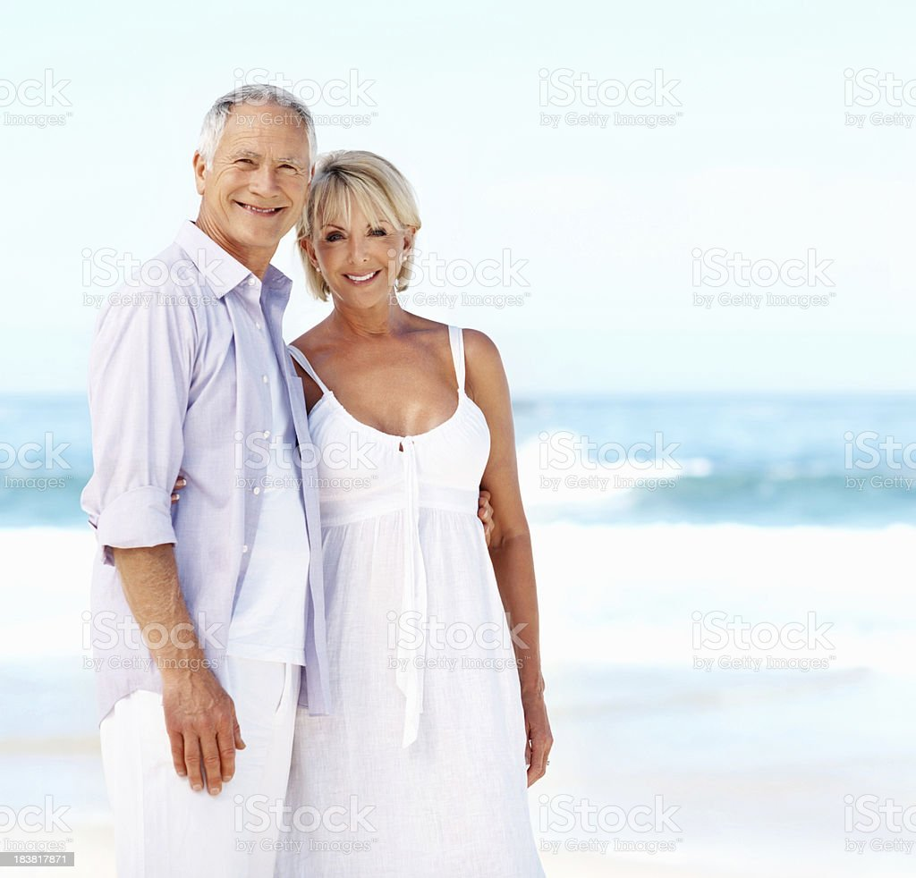 Romantic couple at the beach royalty-free stock photo