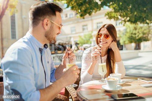 Romantic Couple Drinking Coffee Having A Date In The Cafe Dating Love Relationships - Fotografias de stock e mais imagens de Adulto