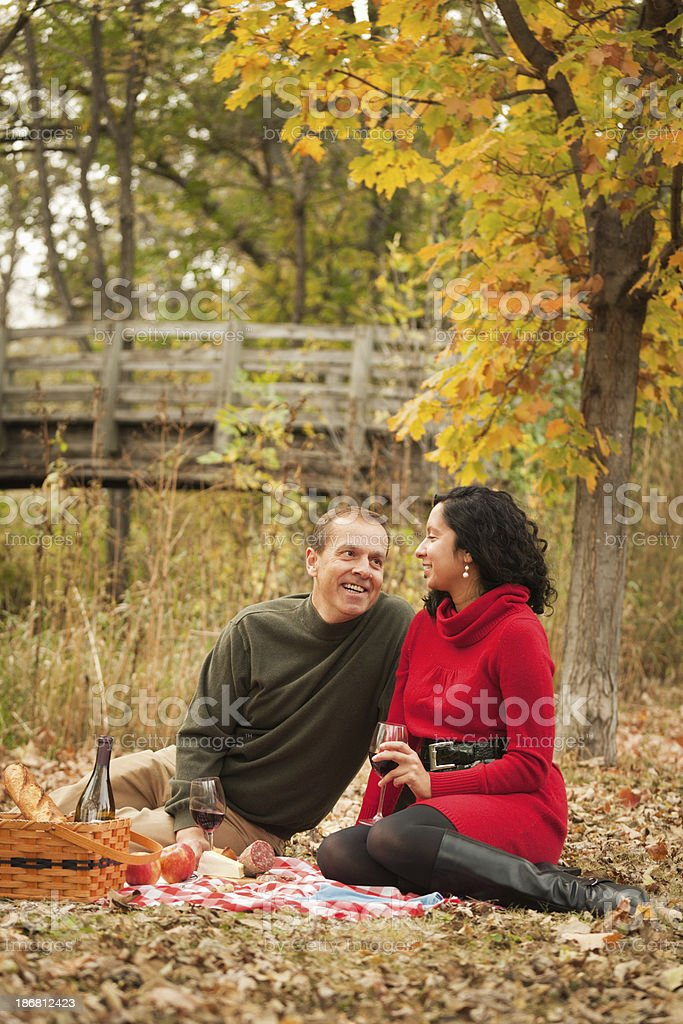 Romantic Couple Enjoying a Fall Picnic Together royalty-free stock photo