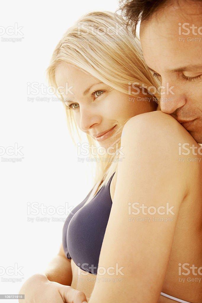 Romantic couple enjoying cozy moment royalty-free stock photo