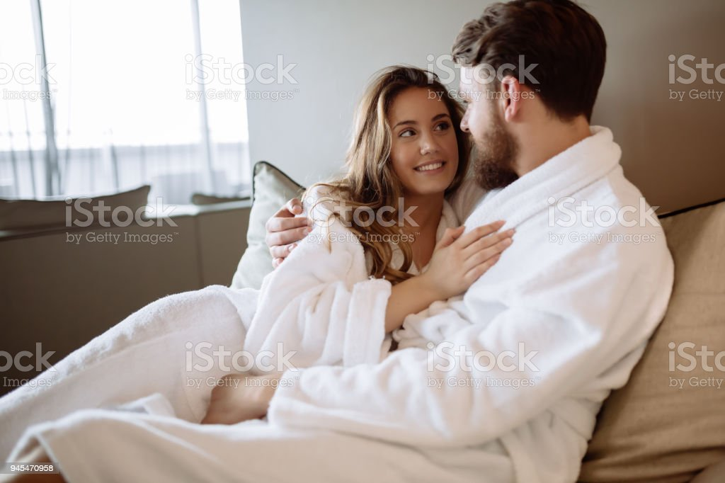 Romantic couple enjoying honeymoon stock photo