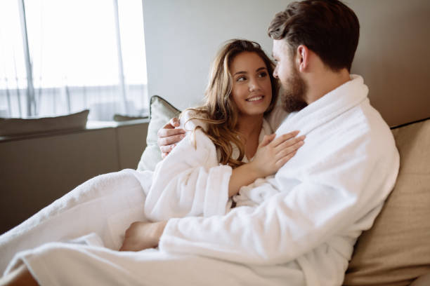 romantic couple enjoying honeymoon - spa belgium stock photos and pictures