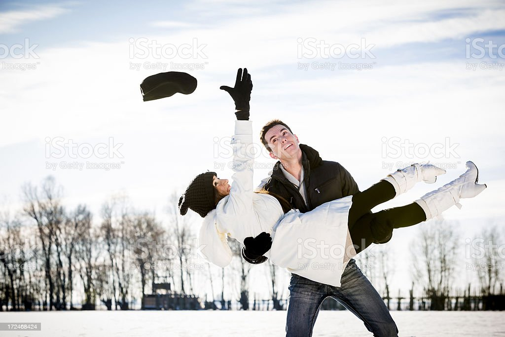 Romantic Couple Having Fun on Snow royalty-free stock photo