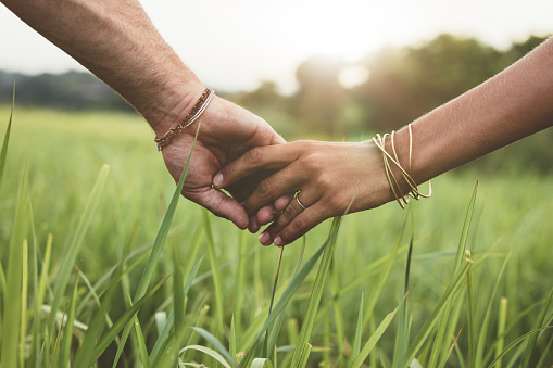 istock Romantic couple holding hands in a field 580107862
