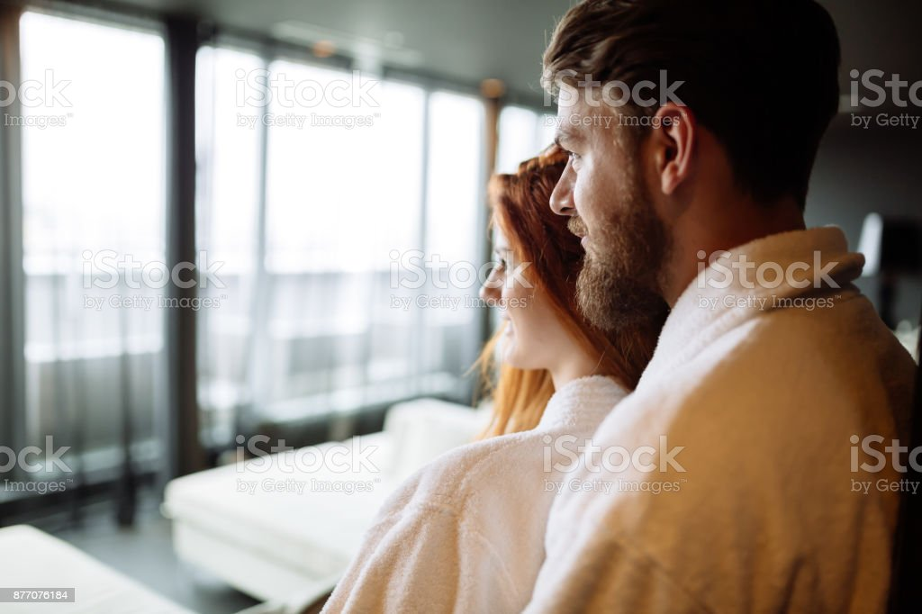 Romantic couple hugging stock photo