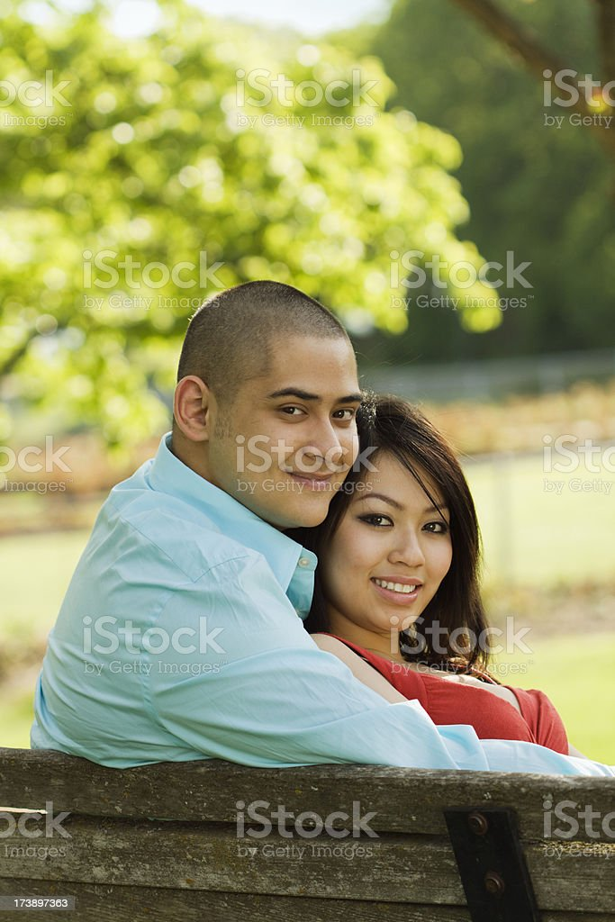 Romantic Couple in a Garden Park Vt royalty-free stock photo