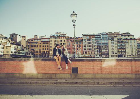 Romantic couple in Firenze near Ponte Vecchio