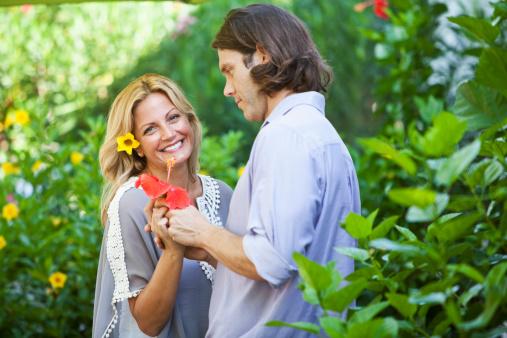 Romantic Couple In Garden Stock Photo Download Image Now Istock
