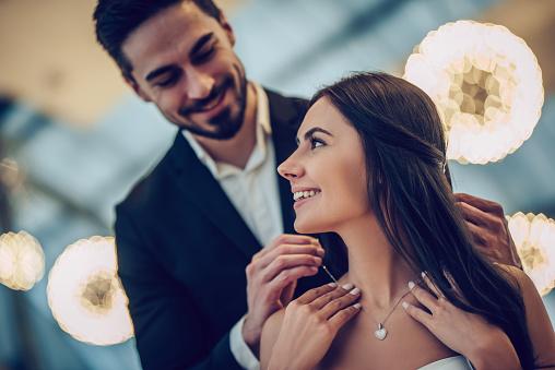 Romantic Couple In Restaurant Stock Photo - Download Image Now