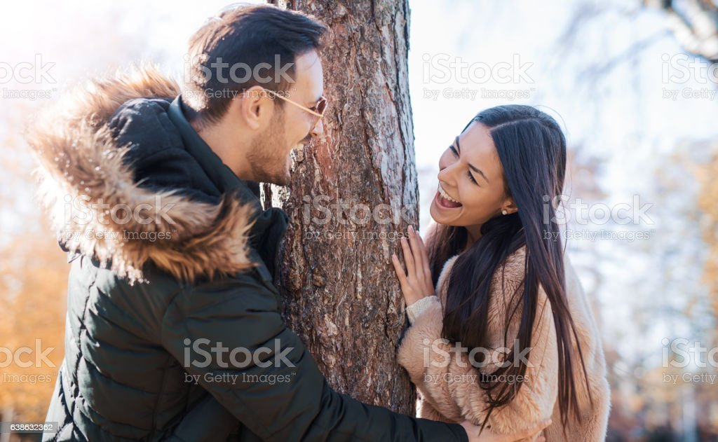 Romantic couple in the autumn park. Love, dating, romance stock photo