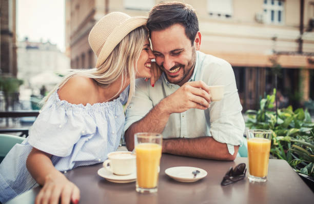 Romantic couple in the cafe. Dating, love, relationships stock photo