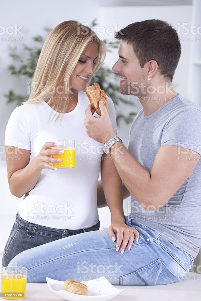 Romantic couple in the morrning royalty-free stock photo