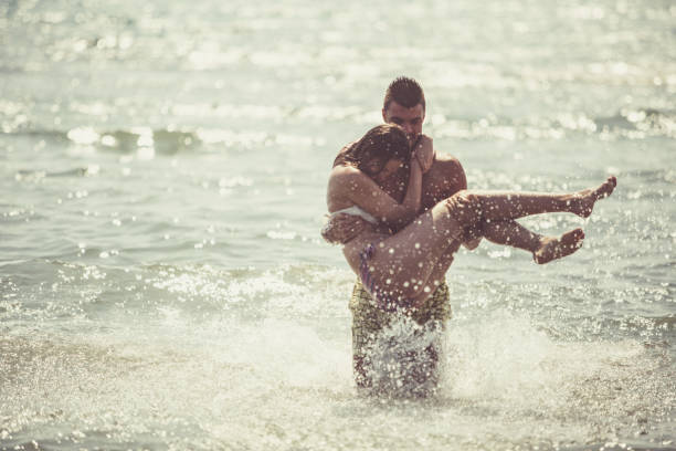 Romantic couple on a vacation stock photo