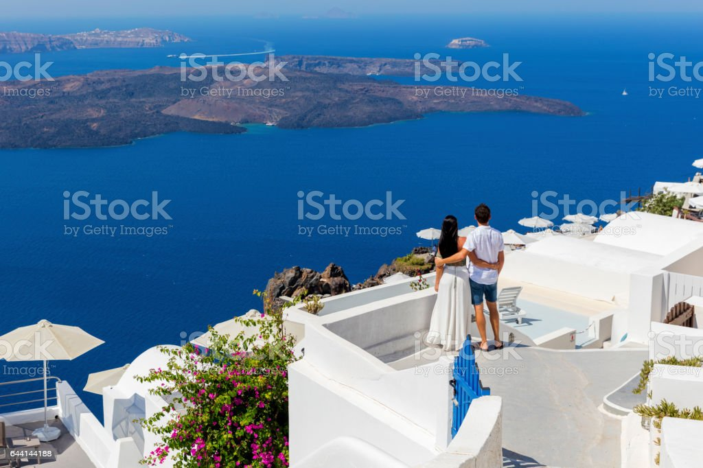 Romantic couple on Greek Island stock photo