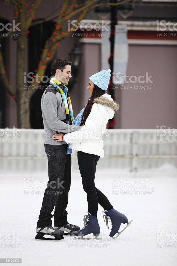 Romantic Couple On Ice royalty-free stock photo