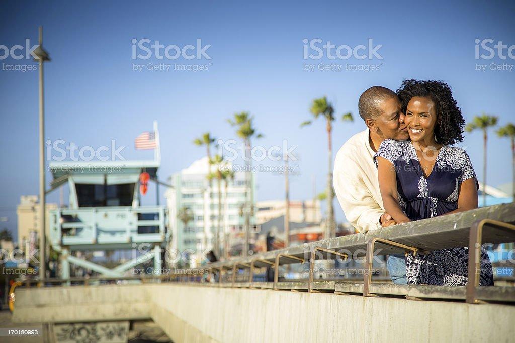 Romantic Couple on Venice Pier royalty-free stock photo