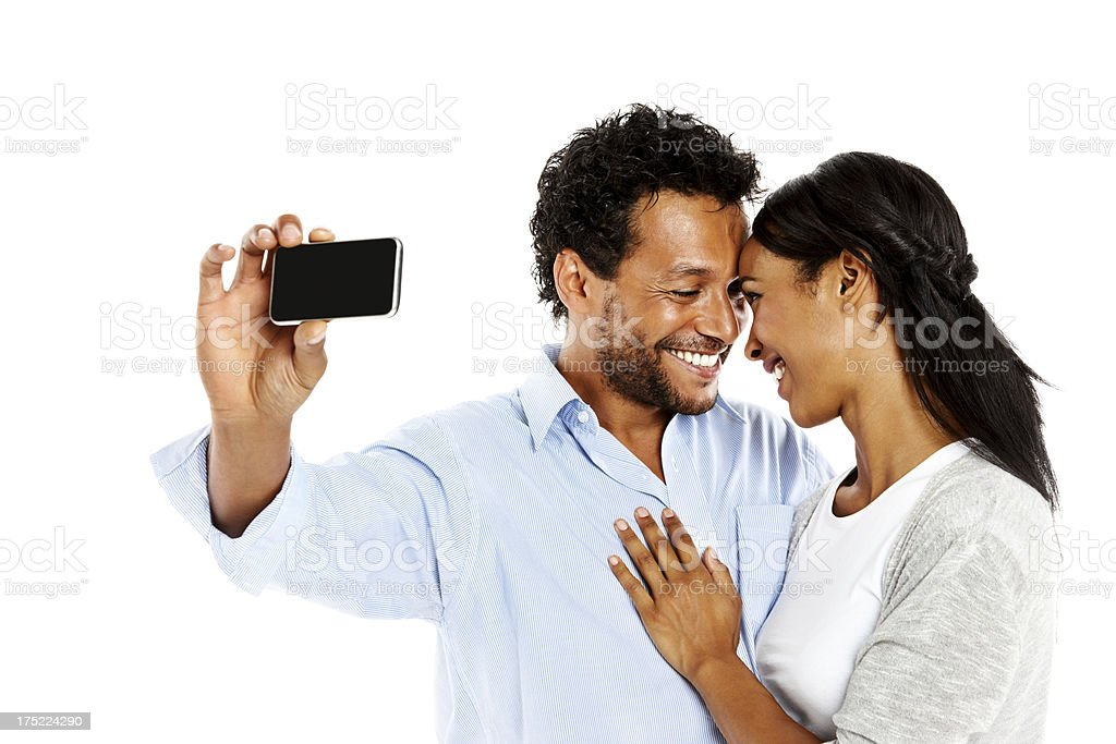 Romantic couple photographing them self royalty-free stock photo