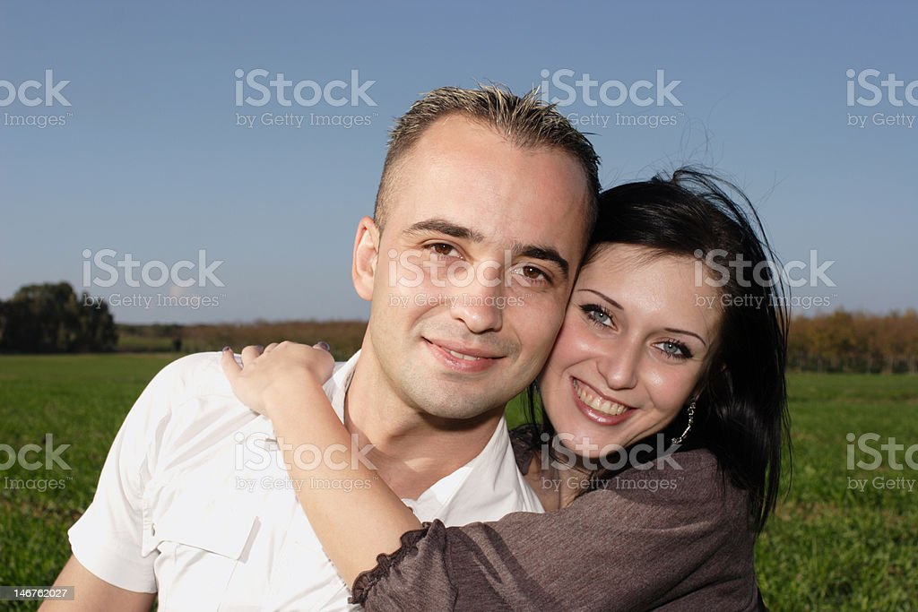 Romantic couple portrait at nature royalty-free stock photo