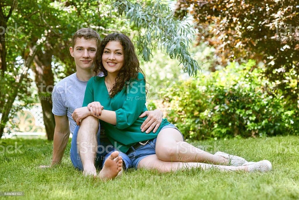 Romantic Couple Posing In City Park Summer Season Stock Photo More