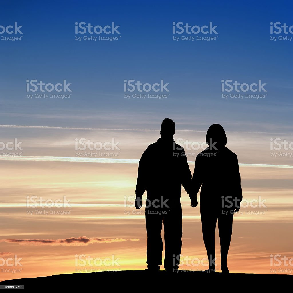 XL romantic couple silhouette royalty-free stock photo