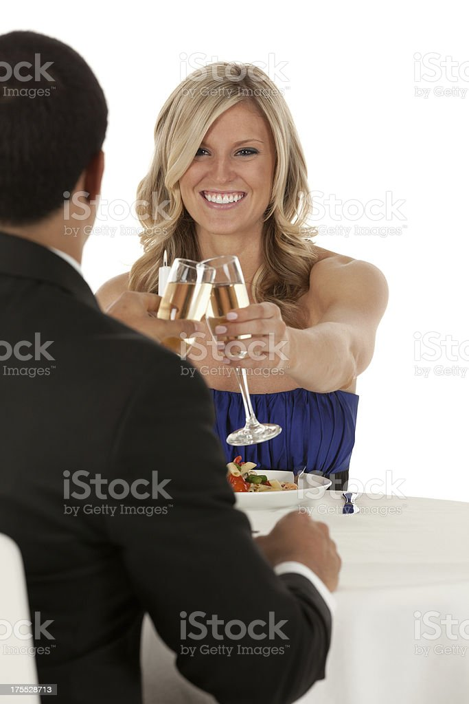 Romantic couple toasting with champagne royalty-free stock photo