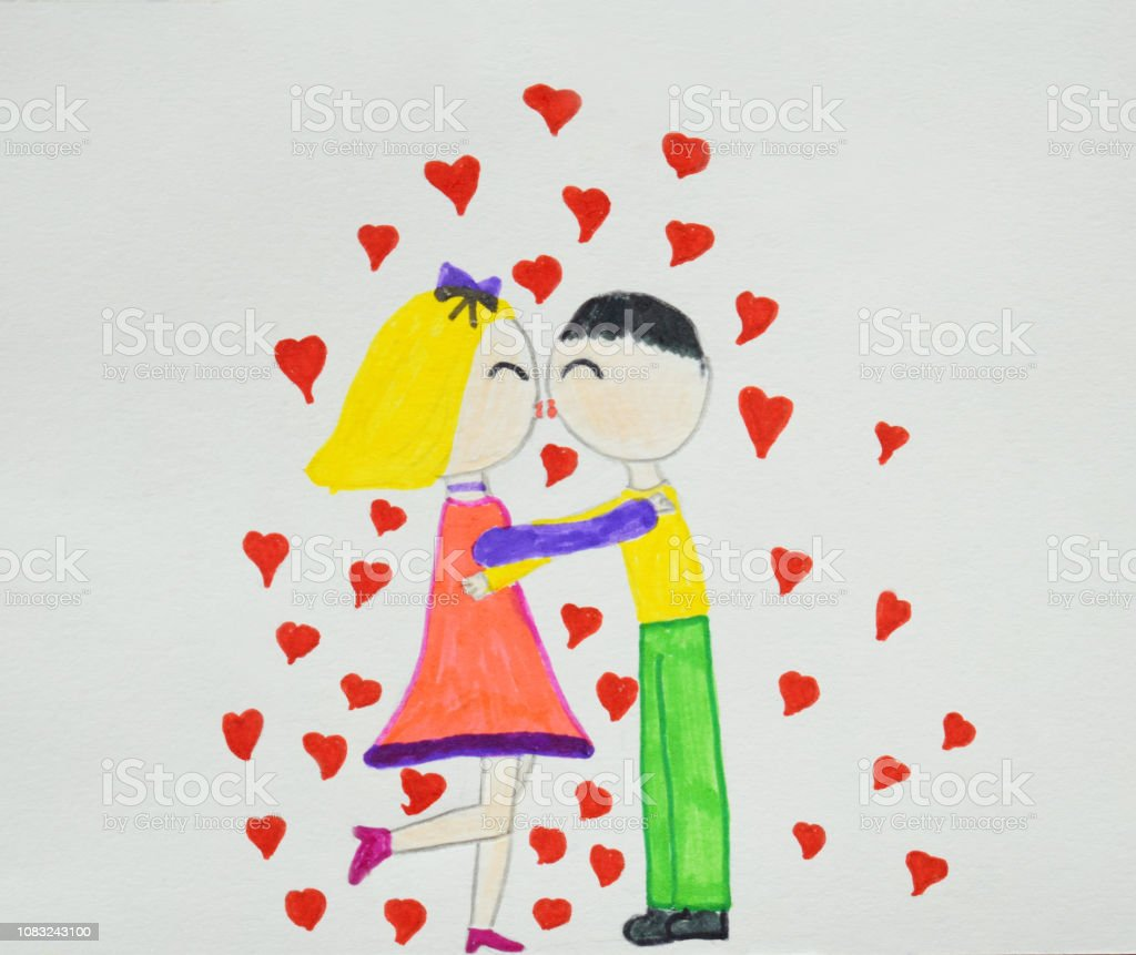 Romantic Couples Boy And Girl In Love Hugging Cuddling And Kissing Childrens Drawing Hand Drawn Stock Photo Download Image Now