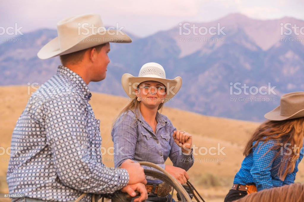 6b66cb9c883964 Romantic Cowboy And Cowgirl On Horseback Stock Photo & More Pictures ...