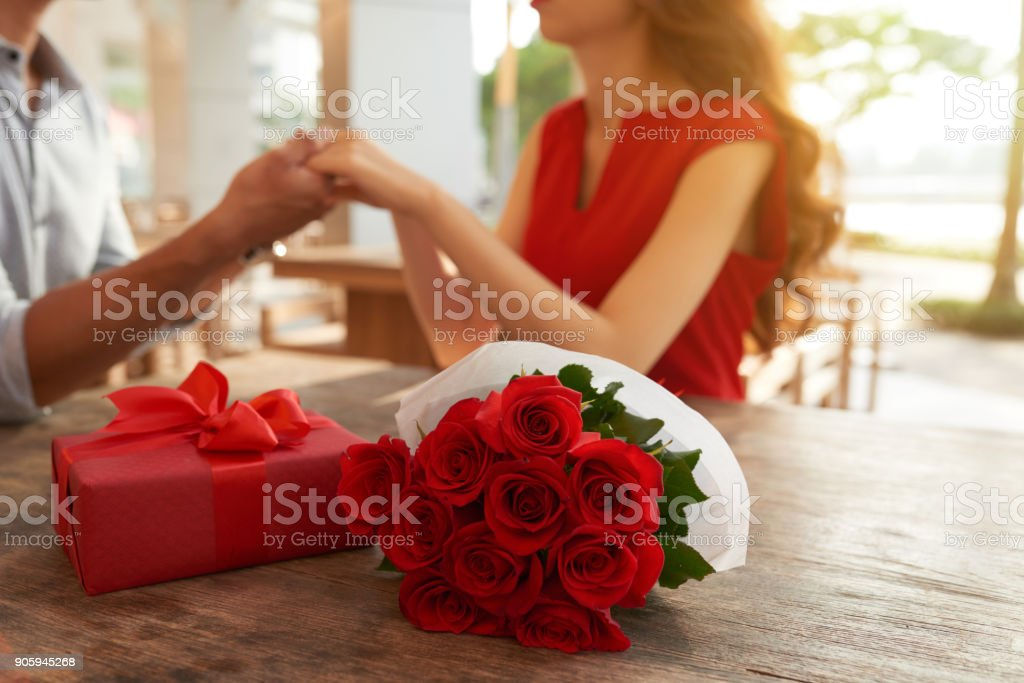 Romantic Date at Outdoor Cafe stock photo
