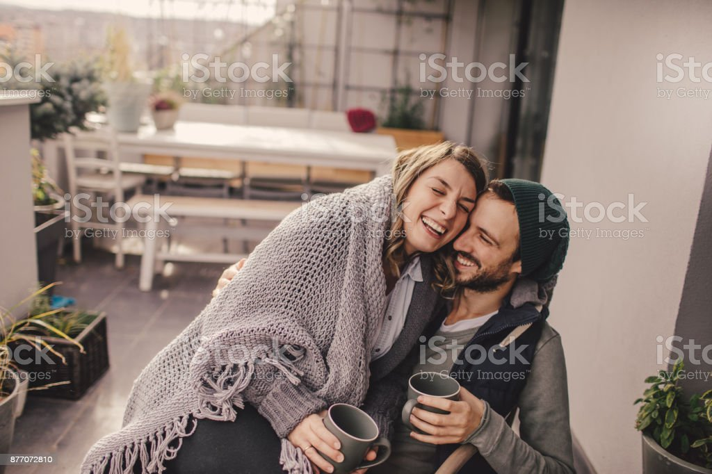 Romantic date on our rooftop garden stock photo