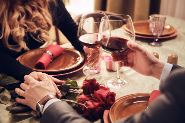 romantic date. - dinner date stock photos and pictures