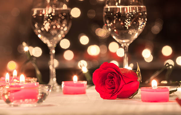 Romantic dining Romantic dinner setting. table for two stock pictures, royalty-free photos & images