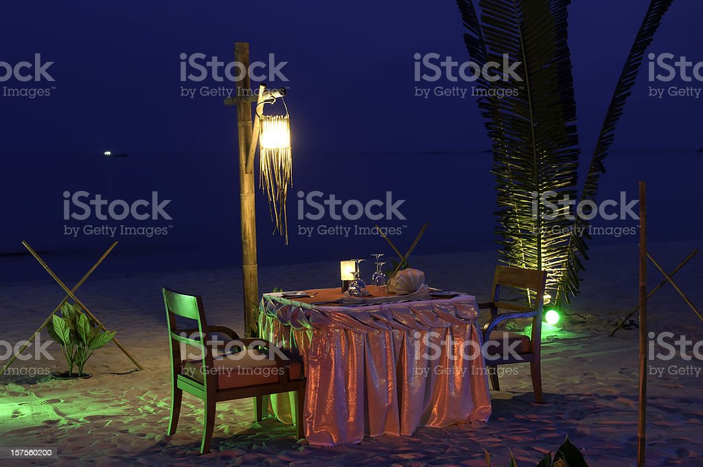 Romantic dinner by the sea royalty-free stock photo