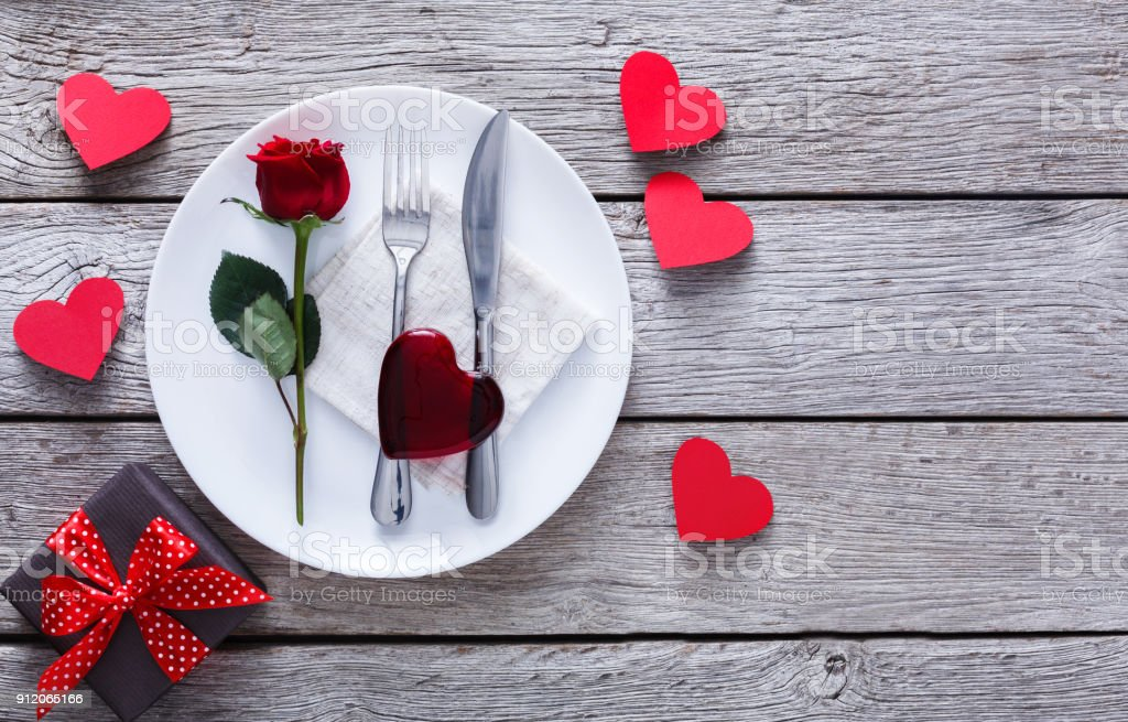 Romantic Dinner Concept Valentine Day Or Proposal Background Stock