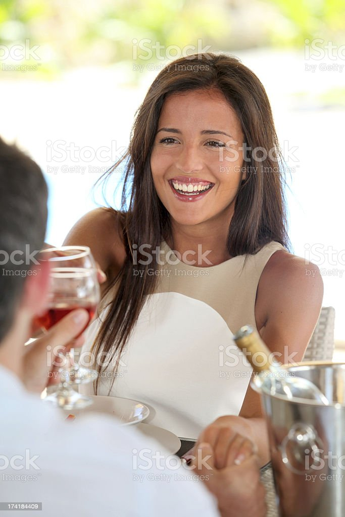 Romantic dinner for a couple in love royalty-free stock photo