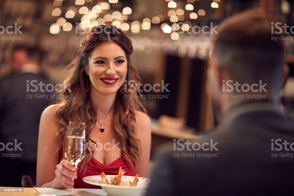 Romantic dinner for Valentine's day stock photo