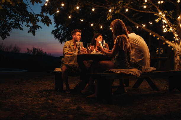 Romantic dinner in a backyard stock photo