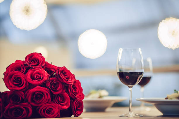 Romantic dinner in restaurant stock photo