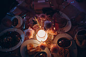 Romantic dinner pink decor table at restaurant.