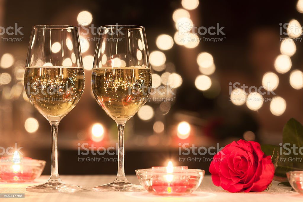 Romantic dinner setting bildbanksfoto
