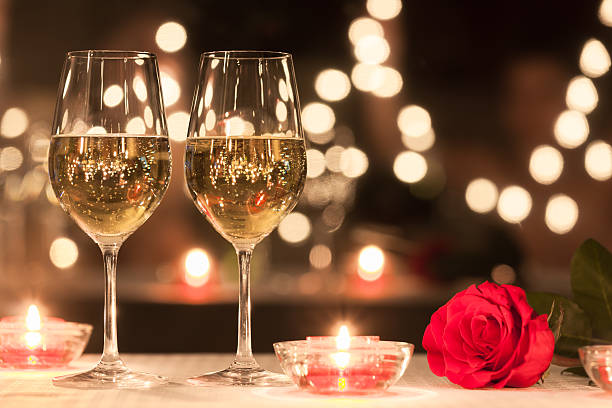 Romantic dinner setting stock photo