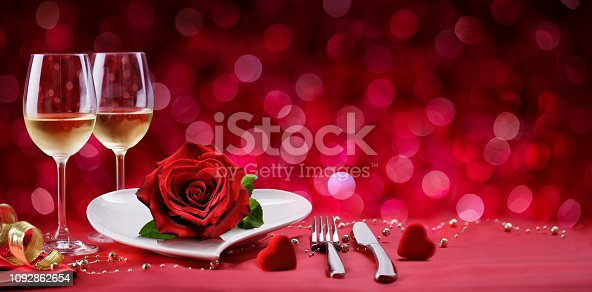 Romantic Meal With Table Setting For Two