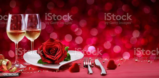 Photo of Romantic Dinner - Table Setting For Valentine's Day